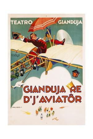 Gianduja Re D'J'Aviator Poster-Carlo Nicco-Framed Giclee Print