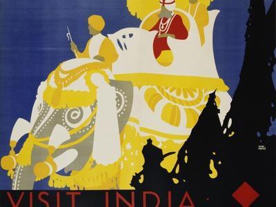 Visit India Poster-Tom Purvis-Framed Giclee Print