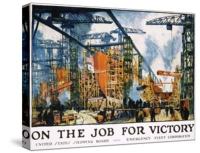 On the Job for Victory Poster-Jonas Lie-Stretched Canvas Print