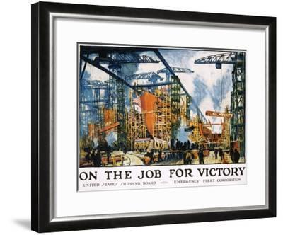 On the Job for Victory Poster-Jonas Lie-Framed Giclee Print