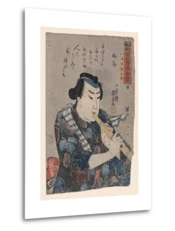 Goshaku Somegoro Playing Shakuhachi-Kuniyoshi Utagawa-Metal Print