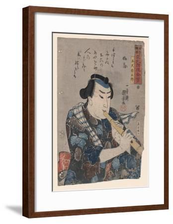 Goshaku Somegoro Playing Shakuhachi-Kuniyoshi Utagawa-Framed Giclee Print
