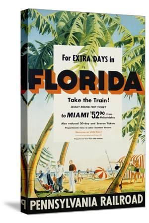 Florida, Pennsylvania Railroad Poster--Stretched Canvas Print