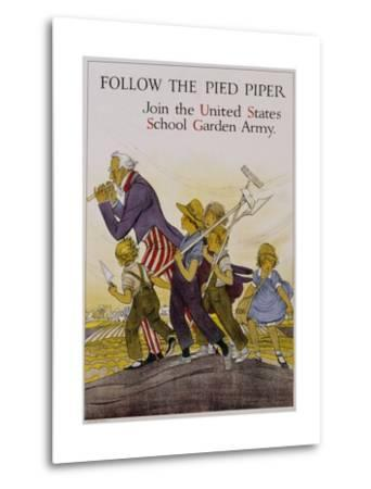 Follow the Pied Piper United States School Garden Poster--Metal Print