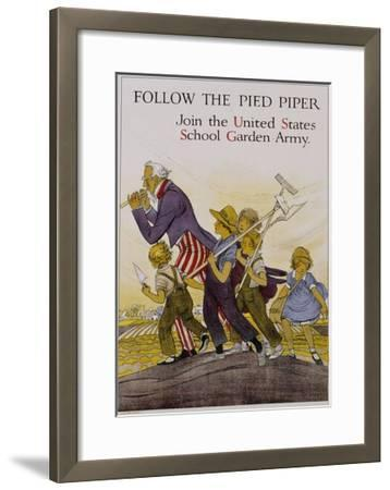 Follow the Pied Piper United States School Garden Poster--Framed Giclee Print