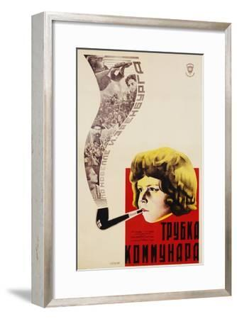 Russian Movie Poster Depicting a Child Smoking a Pipe--Framed Giclee Print