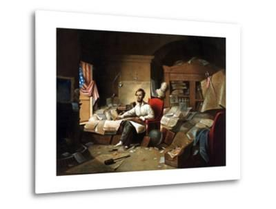 President Lincoln Writing the Proclamation of Freedom--Metal Print