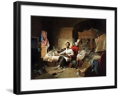 President Lincoln Writing the Proclamation of Freedom--Framed Giclee Print