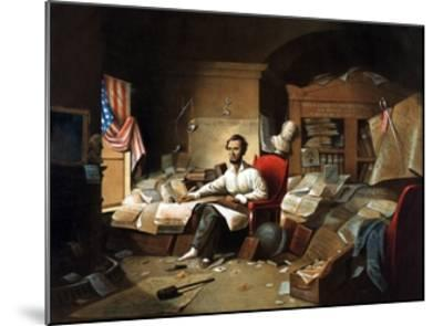 President Lincoln Writing the Proclamation of Freedom--Mounted Giclee Print