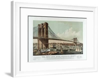The Great East River Suspension Bridge-Currier & Ives-Framed Giclee Print