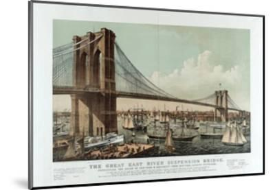 The Great East River Suspension Bridge-Currier & Ives-Mounted Giclee Print