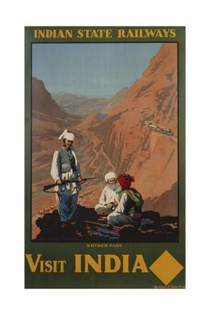 Visit India - Indian State Railways, Khyber Pass Poster-W^S Bylityllis-Framed Giclee Print