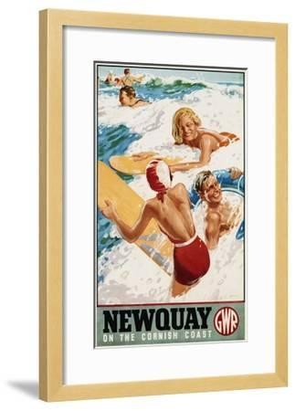 Newquay on the Cornish Coast Poster-Alfred Lambart-Framed Giclee Print