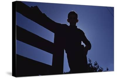 Silhouette of Boy Leaning Against Fence-William P^ Gottlieb-Stretched Canvas Print