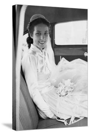 Bride in the Backseat of Car, Ca. 1950--Stretched Canvas Print