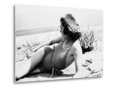 Young Woman at the Beach, Ca. 1938--Metal Print