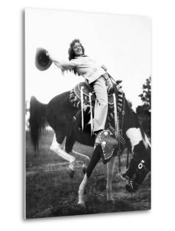 Young Woman on Phony Pony, Ca. 1940--Metal Print