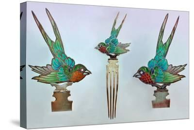 British Arts and Crafts Hair Combs with Swallows--Stretched Canvas Print