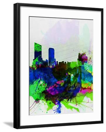 Grand Rapids Watercolor Skyline-NaxArt-Framed Art Print
