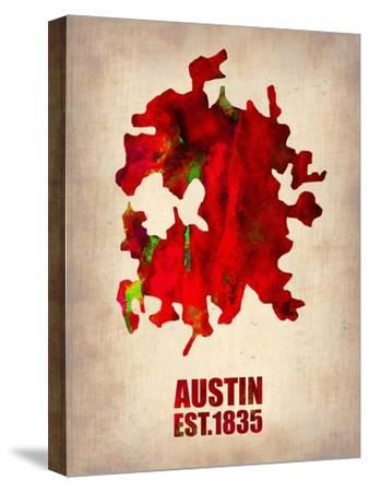 Austin Watercolor Map-NaxArt-Stretched Canvas Print