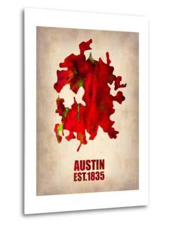 Austin Watercolor Map-NaxArt-Metal Print