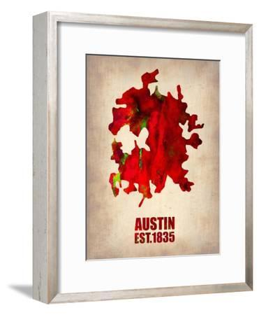 Austin Watercolor Map-NaxArt-Framed Art Print