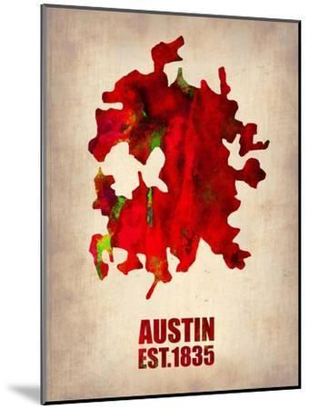 Austin Watercolor Map-NaxArt-Mounted Art Print
