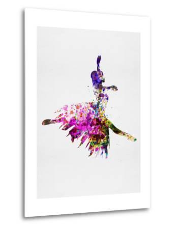 Ballerina on Stage Watercolor 4-Irina March-Metal Print