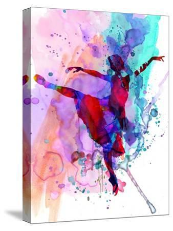 Ballerina's Dance Watercolor 1-Irina March-Stretched Canvas Print