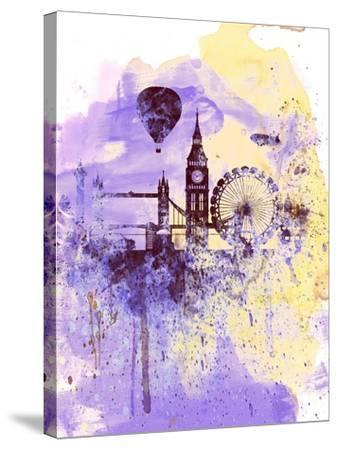 London Watercolor Skyline-NaxArt-Stretched Canvas Print