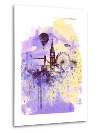 London Watercolor Skyline-NaxArt-Metal Print