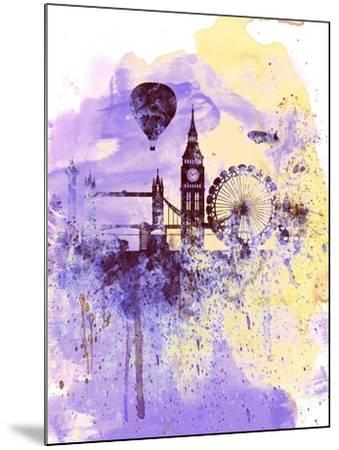 London Watercolor Skyline-NaxArt-Mounted Art Print