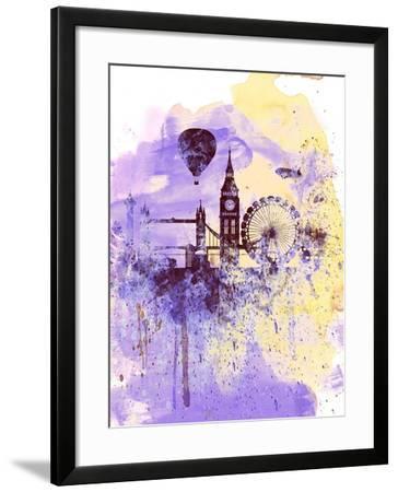 London Watercolor Skyline-NaxArt-Framed Art Print