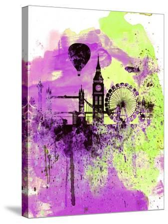 London Watercolor Skyline 1-NaxArt-Stretched Canvas Print