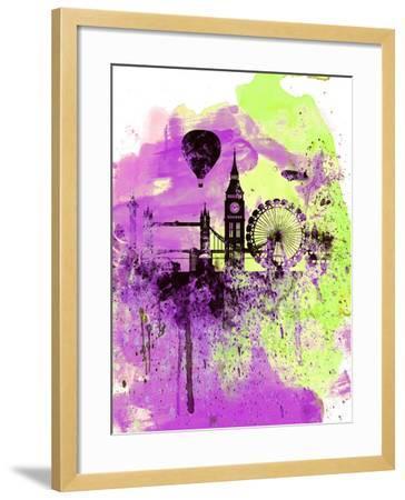 London Watercolor Skyline 1-NaxArt-Framed Art Print