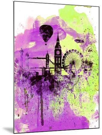 London Watercolor Skyline 1-NaxArt-Mounted Art Print