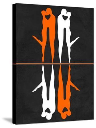 Orange and White Kiss-Felix Podgurski-Stretched Canvas Print