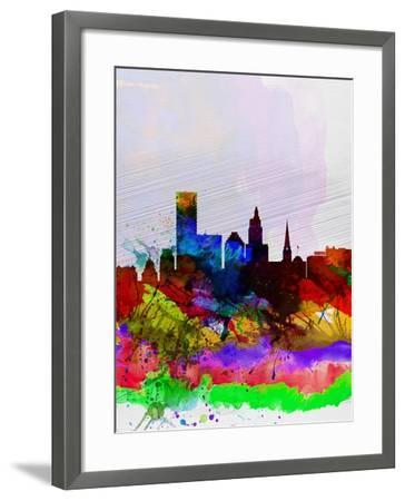 Providence Watercolor Skyline-NaxArt-Framed Art Print