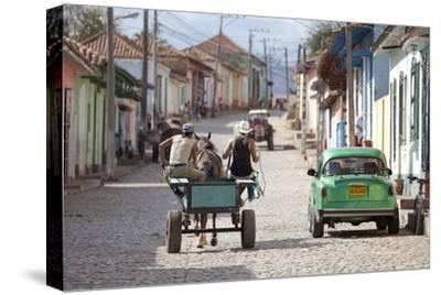 Horse and Cart and Vintage American Car on Cobbled Street in the Historic Centre of Trinidad-Lee Frost-Stretched Canvas Print