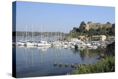 Sailing Yachts and Other Boats Moored at Port Cros Island in Front of Fort De L'Eminence Castle-Nick Upton-Stretched Canvas Print