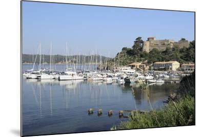 Sailing Yachts and Other Boats Moored at Port Cros Island in Front of Fort De L'Eminence Castle-Nick Upton-Mounted Photographic Print