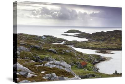 View Out to Sea over Abandoned Crofts at the Township of Manish-Lee Frost-Stretched Canvas Print