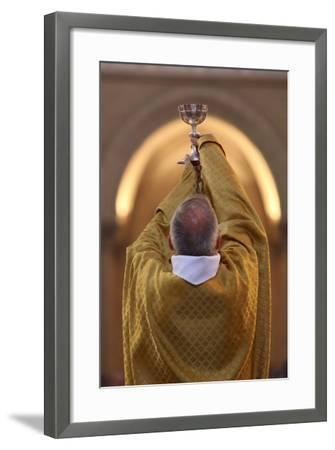 Priest During Eucharist Celebration, Paris, France, Europe-Godong-Framed Photographic Print