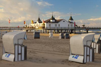 Beach Chairs and the Historic Pier in Ahlbeck on the Island of Usedom-Miles Ertman-Premium Photographic Print