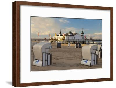 Beach Chairs and the Historic Pier in Ahlbeck on the Island of Usedom-Miles Ertman-Framed Photographic Print