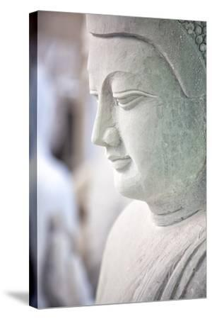Marble Buddha Images Waiting to Be Finished at a Stone Carver's in Amarapura-Lee Frost-Stretched Canvas Print