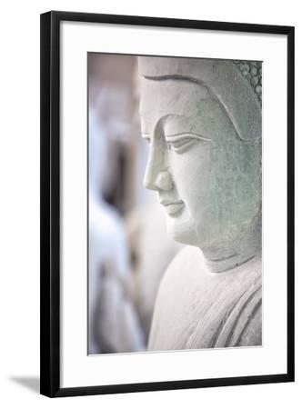 Marble Buddha Images Waiting to Be Finished at a Stone Carver's in Amarapura-Lee Frost-Framed Photographic Print