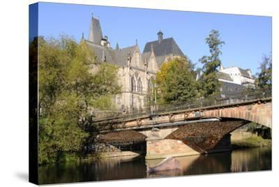 Bridge over the Lahn River and Medieval Old University Buildings, Marburg, Hesse, Germany, Europe-Nick Upton-Stretched Canvas Print