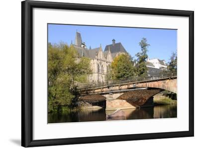 Bridge over the Lahn River and Medieval Old University Buildings, Marburg, Hesse, Germany, Europe-Nick Upton-Framed Photographic Print