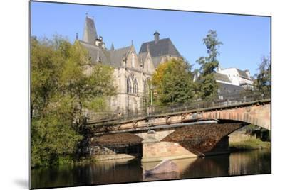 Bridge over the Lahn River and Medieval Old University Buildings, Marburg, Hesse, Germany, Europe-Nick Upton-Mounted Photographic Print